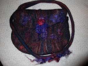 Hand felted shoulder bag embellished with hand dyed Wensleydale locks £30